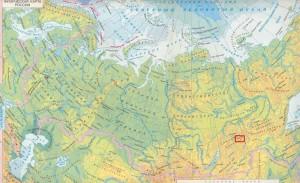 Физическая карта России - пик БАМ