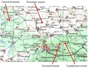 Рисунок 1. Расположение объектов природы на карте_resize